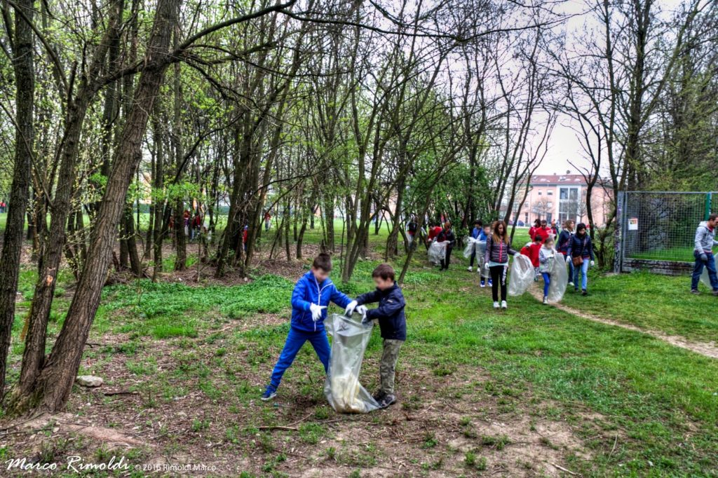 I volontari all'opera per la pulizia dell'area
