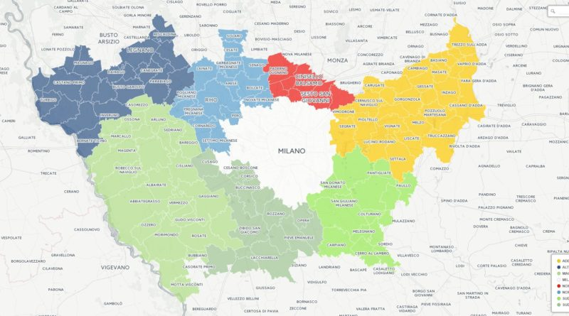 Mappa Città Metropolitana Milano